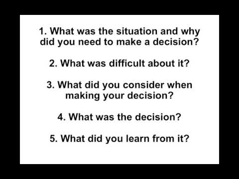 Interview Question Tell Me About A Time When You Had To Make A Difficult Decision