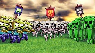 Minecraft | ZOMBIE ARMY VS CREEPER ARMY VS SKELETON ARMY! (Massive Mob Battles)
