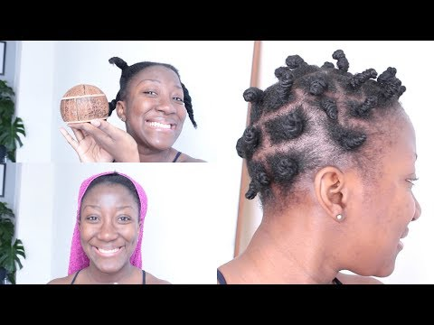 Bantu Knot Out Using Sheabutter Only || Thin Fine Natural Hair 4c || Adede