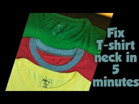 Fix T-shirt neck in 5 minutes टीशर्ट का ढीला गला 5 मिनट में ठीक करें