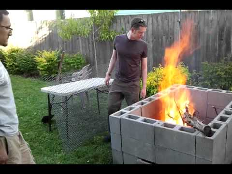 DIY backyard bbq pit. The break-in burn.