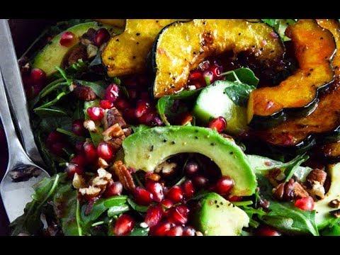 Autumn Arugula Salad with Caramelized Squash and Pomegranate Vinaigrette