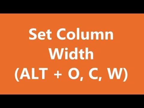 Excel Shortcuts - Set Column Width