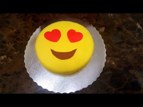 EASY EMOJI CAKE RECIPE , USING FONDANT, DIY , HOW TO MAKE AN EMOJI CAKE کیک