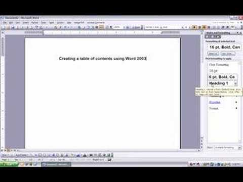 Table of Contents and Header/page number in Word 2003