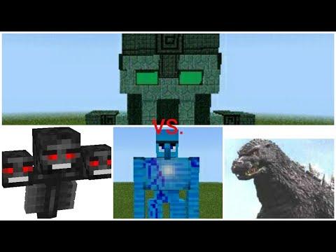 Admin Boss vs Guardian Golem,Godzilla,Wither//Mcpe Mob Battle