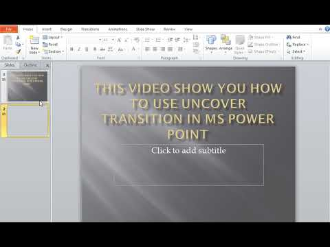 How to use UnCover Transitions in MS Power Point