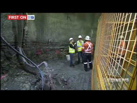 9 News grab on Queensland Urban Utilities' trenchless works under the Brisbane River