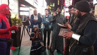 Muslim Spider-man debates Black Hebrew Israelites in Times Square NYC