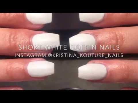 Short White Coffin Nails | Kristina Kouture Nails