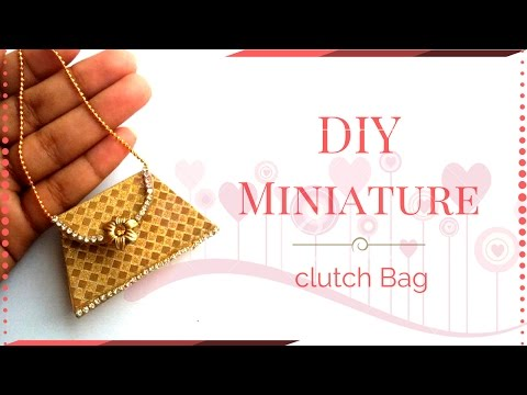 DIY Miniature Doll Clutch Bag - How to make easy Doll Stuff | DIY Miniature Doll Crafts !