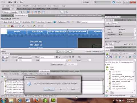 Using 'Check Links Sitewide' and 'Change Link Sitewide' to quickly fix links in Dreamweaver CS5.