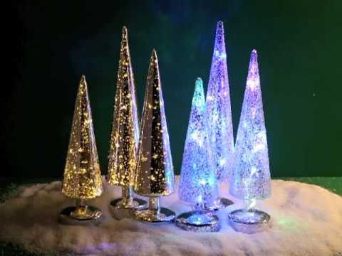 Mercury Glass Trees With Led Lights Led Glass Lights