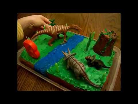 Dinosaur Cake - Dino cake decorating idea - Торт с динозаврами
