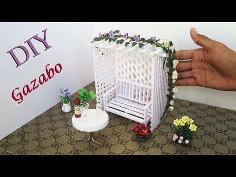 DIY  Miniature Gazebo & Fairy Garden | Handmade dollhouse