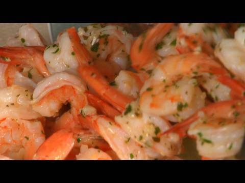 Shrimp Scampi with a Tomato and Cucumber Salad on the Side