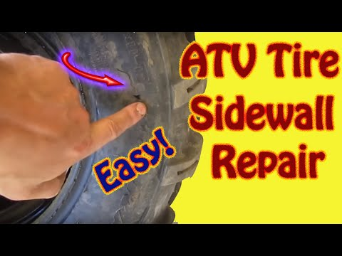 ATV Tire Sidewall Repair - Tube Installation - Sidewall Patch DIY Repair Instruction Video