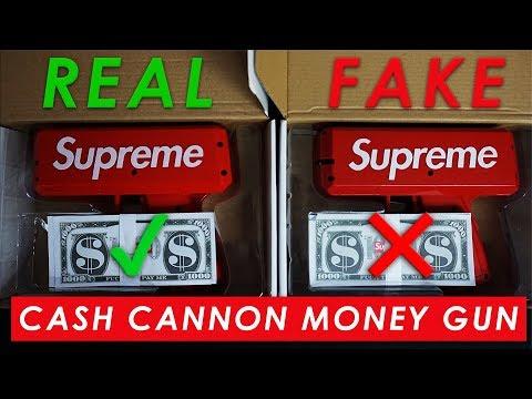SUPREME CASH CANNON MONEY GUN - Real Vs. Fake (LEGIT CHECK)