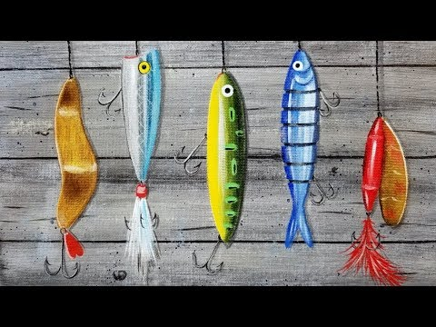 Easy Fishing Lures Acrylic Painting Tutorial LIVE