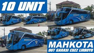 10 unit Bus Mahkota berbaris rapi keluar garasi