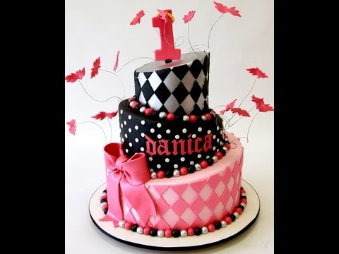1st Birthday Hot Pink Topsy Turvy Cake