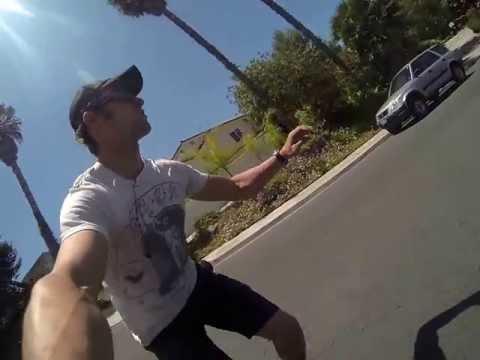 Skater runs off speed wobble!  20mph+!
