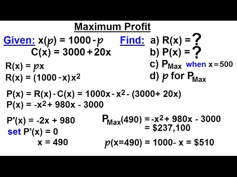 Calculus 1: Max-Min Problems (24 of 30) Maximum Profit