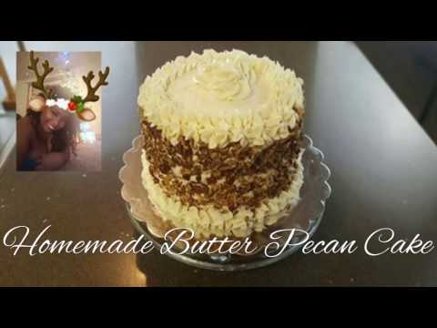 Homemade Butter Pecan Cake & Cream Cheese Frosting