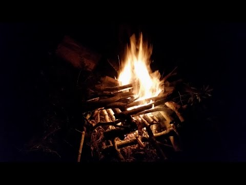 Log cabin fire pyramid fire primitive survival Bushcraft camping  survive and thrive eagle jon