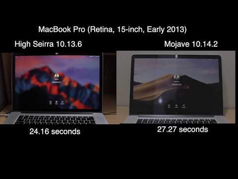 Mojave 10.14.2 vs High sierra 10.13.6 boot test | App opening test