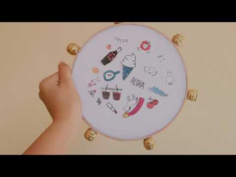 DIY. Tambourine made with recycled material Embroidery hoop