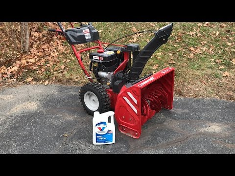 Changing Oil On Troy Bilt Snow Blower | Paper Plate Funnel