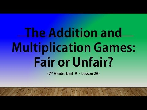 The Addition and Multiplication Games: Fair or Unfair? (7th Grade Unit 9 Lesson 2A)