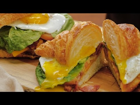The Fluffiest Breakfast Croissant Sandwich EVER