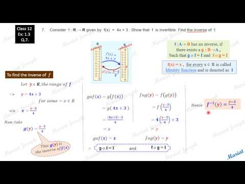 1. Inverse, fog, gof.(Class 12 Relations and Functions, NCERT Exercise 1.3  Qst 7)
