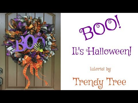 2017 Boo! It's Halloween! A Wreath Tutorial by Trendy Tree