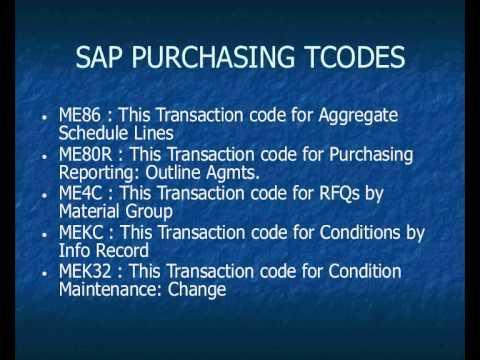 SAP Purchasing ( MM - PUR ) Transaction Codes