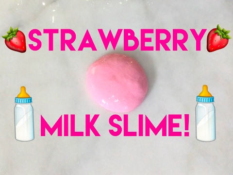 DIY STRAWBERRY MILKY SLIME! SUPER STRETCHY AND GLOSSY!