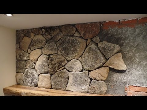 Natural Stone Veneer Installation Fireplace