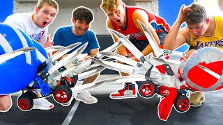 INSANE Fighting RC CARS With KNIVES & BALLOONS!