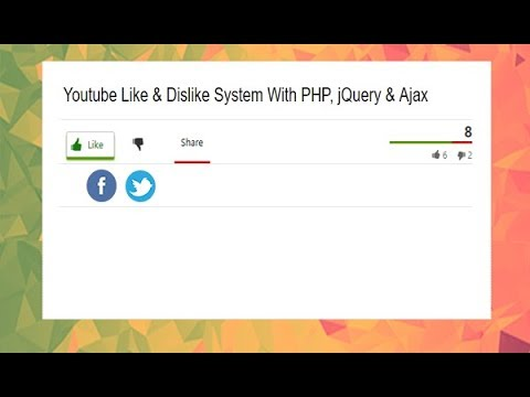 Youtube Style Like Dislike Rating System Using, PHP, Ajax, Jquery, Youtube Like Dislike Bar