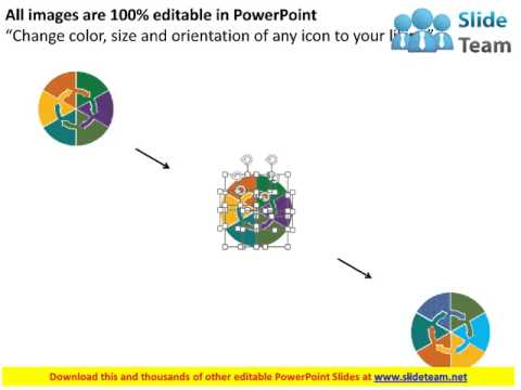 six staged multicolored circular flow diagram with icons flat powerpoint design