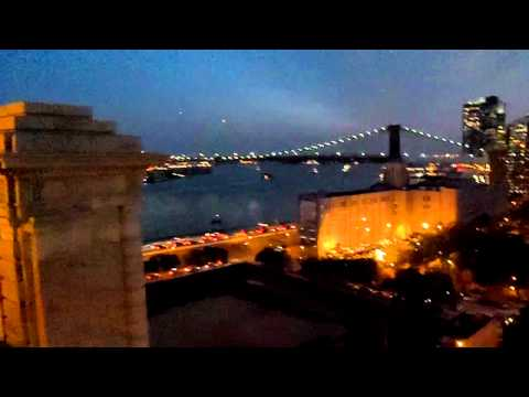 Driving the Manhattan Bridge and viewing the Brooklyn Bridge and NYC at Night