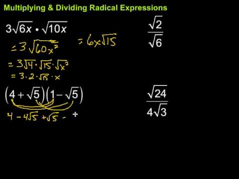 Multiplying & Dividing Radical Expressions