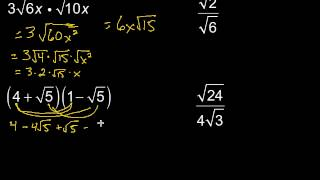 Multiplying Dividing Radical Expressions