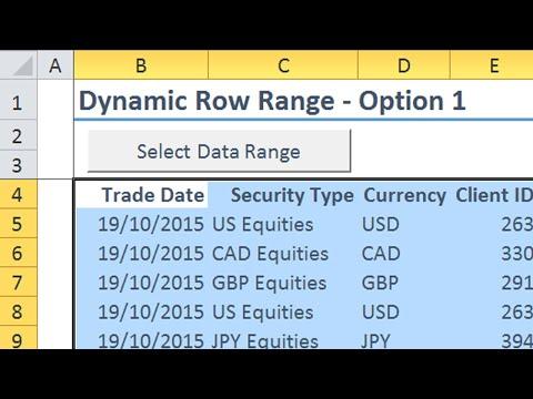 Excel VBA Dynamic Row Ranges