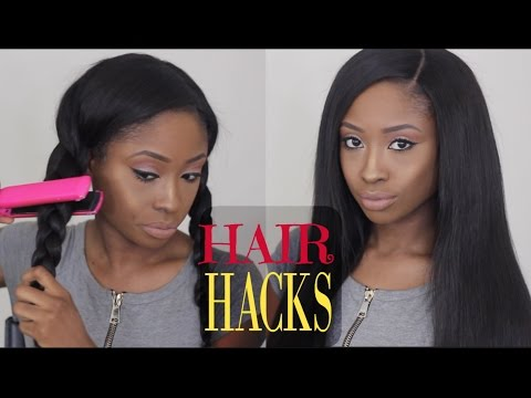 HAIR HACKS TESTED: Bone straight hair in 10 MINUTES + Quick Curls HACK!