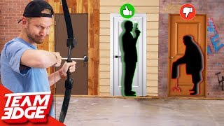 Shoot the Person Behind the Mystery Door! | Don't Choose the Wrong Door!!