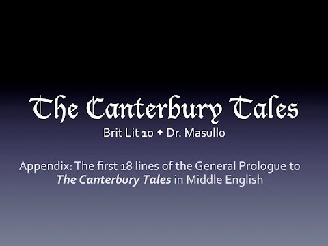 The first 18 lines of the General Prologue to the Canterbury Tales in Middle English