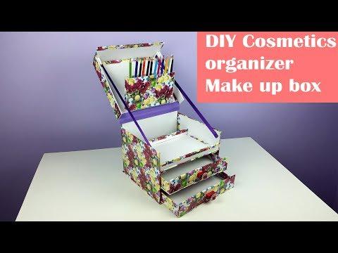 DIY make up organizer/ jewelry box organizer using cardboard.